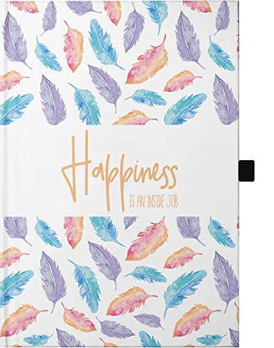 Hardcover Notizbuch A5 / mit Stifthalter / 176 karierte Seiten/wechselnde Motivationssprüche auf jeder Doppelseite/Bullet Journal, mit Seitenzahlen