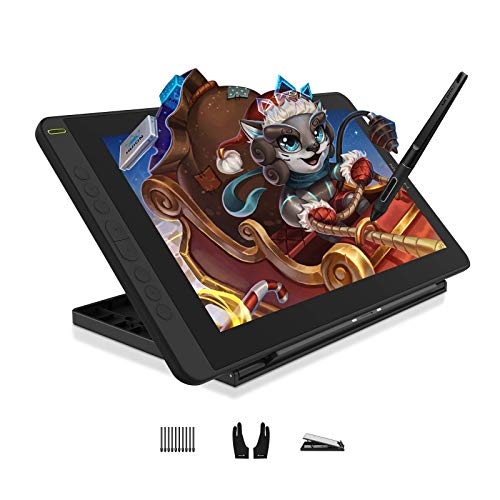 HUION Kamvas 12 Tableta gráfica con pantalla (Cosmo Black), Monitor Gráfico de 11,6 Pulgadas,Soporte Ajustable, 120% sRGB, Compatibilidad con Android, Ideal para Trabajar en Línea y Aprendizaje Remoto