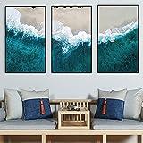 LTGBQNM Pintura Abstracta de Paisaje Marino en Lienzo Impresión de la Pared Arte Azul mar Onda Cartel decoración de la decoración para la Sala de Estar hogar Cuadros 20x32inchx3 No Frame
