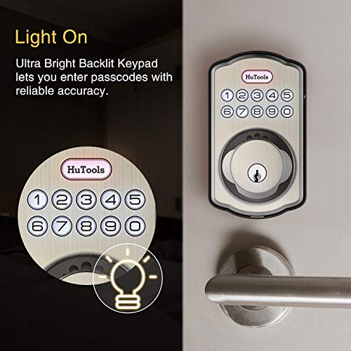 Keyless Entry Door Lock, Hutools Electric Keypad Deadbolt Lock, Emergency Battery Backup, Auto Lock for Front Garage Side Door, Bedroom, Satin Nickel