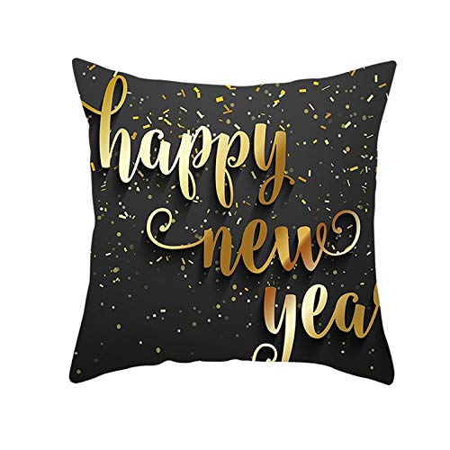 ANAZOZ 1 Funda Cojin 50x50,Fundas Cojin Poliéster Happy New Year Gris Oscuro Negro Oro