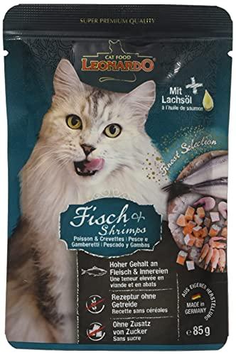 Leonardo Nassfutter für Katzen im Frischebeutel, Fischmenü, 16x85g