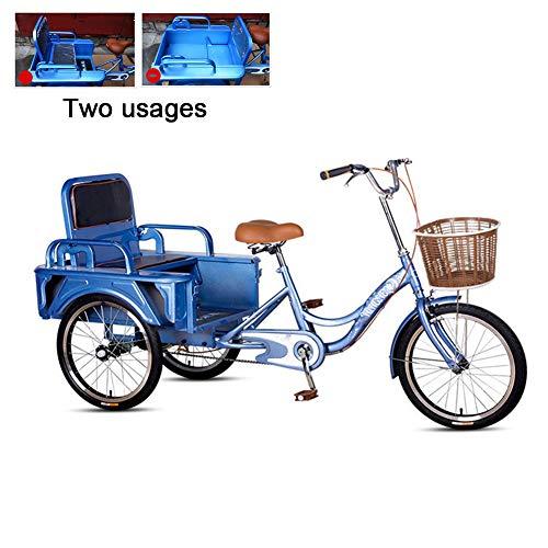 DNNAL Rikscha Dreirad, Ziehen Sie Menschen und ziehen Sie Waren Dual-Use Adult Pedal Dreirad Faltschaufel für Erwachsene, Gartentransport, Kinder abholen, Einkaufen,Blau