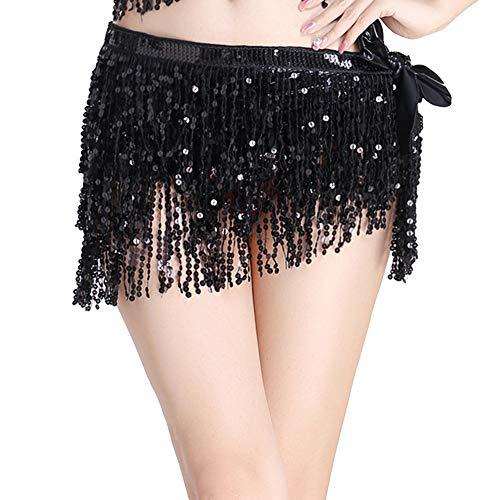 Mujer Falda Danza Del Vientre Borla Lentejuelas Practica Rendimiento Cinturón Negro One Size