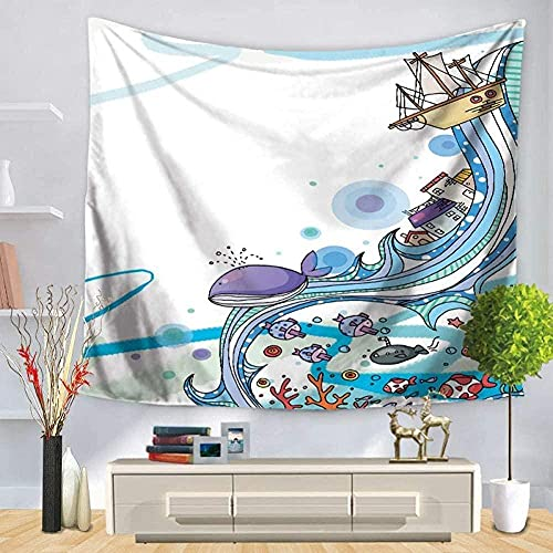 Tapiz Animal Marino Tortuga Tiburón Delfín Pulpo Estrella de mar Caballito de mar Decorativo en océano Azul 150 * 200Cm