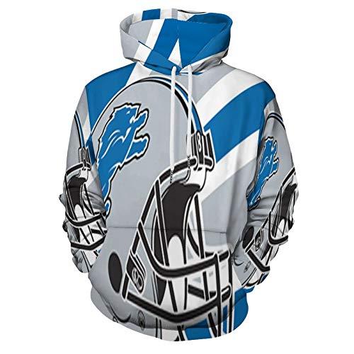 VF Men's Detriot Lions Logo Hoodie All-Over Printing Sleeve Hoodie Sweater 2XL