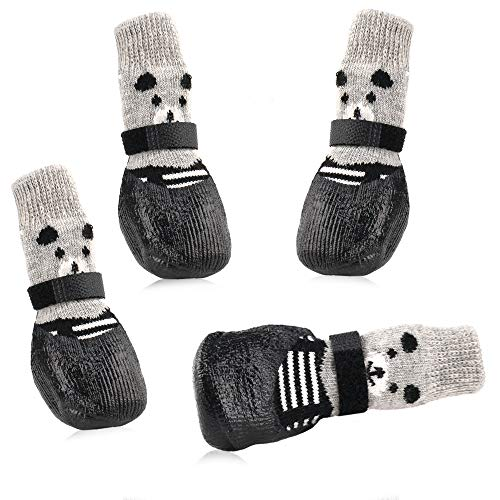 RilexAwhile Dog Socks Boots Shoes for Dogs Cat Socks Non-Slip Soles Adjustable Dog Cat Paw Socks Fit for Indoor Outdoor Use (Large, Black)