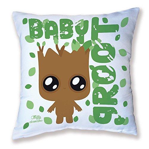 Chamalow Shop Housse de Coussin de Décoration Baby Groot (Les Gardiens de la Galaxie) Chibi, Kawaii et Pastel by Fluffy Chamalow - Made in France