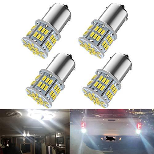 Melphan-Auto 1156 Bulb, 1141 1003 BA15S Led, 12V-24V 54-SMD 3014 Chips LED White Bulbs for RV Camper Trailer Trunk Vehicle Interior Lights Tail Backup Reverse Lights Parking Lights 4pcs