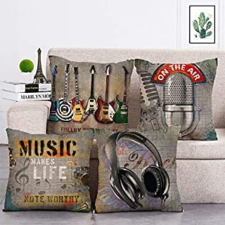 geinne 4pack Music Style Throw Pillow Case Guitar bass Microphone Headset Theme Decorative Square Cotton Linen Cushion Cover for 18 X 18 Inch Pillow Inserts (Music)