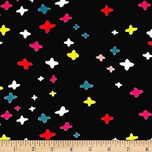 Cotton + Steel Jersey Knit Dress Shop It's A Plus Black Fabric by The Yard