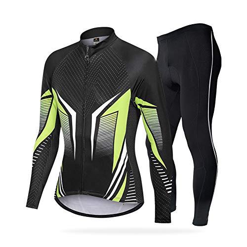 Conjunto de Maillot de Ciclismo para Hombre, Trajes de Ciclismo de Manga Larga + pantalón Largo 3D, compresión Deportiva de Capa Base de Secado rápido, Conjunto de Ropa,C,XXL