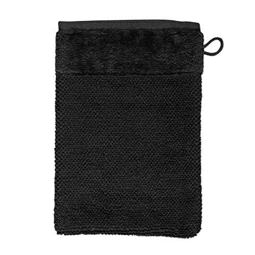 MÖVE Bamboo Luxe Gant de Toilette 15 x 20 cm, Fabriqué en Allemagne, 60% coton / 40% viscose en pulpe de bambou, Black (Noir)