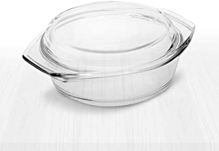 Simax Clear Glass Casserole | With Lid, Heat, Cold and Shock Proof, Made in Europe (1.5 Quart)