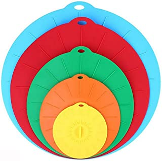 Silicone Suction Lids Reusable Silicone Dustproof Heat-Resistant Cover, Fit Any Round Container Flat Rim, Great for Frying...
