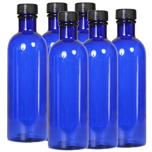 6 x flacons vides en Plastique Bleu avec Bouchon - Contenance 200 ML - FL90