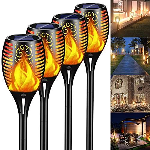 Solar Flammenlicht, infray Solarlampe für Außen, 33 LED Solarleuchte Garten, Solar Gartenleuchte mit Flammeneffekt, IP65 wasserdicht, Solar Fackel Lampe, Gartenfackeln Solar Lampe für Terrasse, Rasen