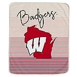 Pegasus Sports NCAA Ultra Fleece State Stripe Blanket- Wisconsin Badgers, Team Color, 60x70