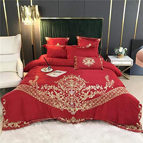 TYDH Gold Embroidery 60S Satin Silk Cotton Bedding Set Double Duvet Cover Set Bed Linen Fitted Sheet Pillowcases Home Textile 4 Fitted Sheet Style King Size 4pcs