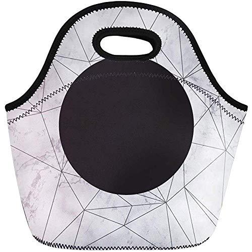 Neopren Lunchtasche,Schwarzes Minimalistisches Marmorgoldgeometrisches Muster Weiße Abstrakte Leere Reise/Büro-Handtasche,Wiederverwendbare Picknicktaschen,Tragbare Tragetasche