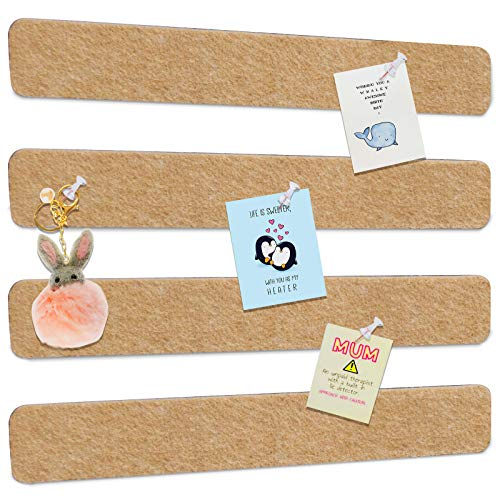 Felt Pin Boards Bar Strips, Bulletin Boards Tiles Damage-Free to Wall with 40 Push Pins, as Memo Notice Boards for Home Office Classroom Wall Decor, 4 Pack (Camel)