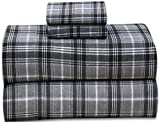 Ruvanti 100% Cotton 4 Pcs Flannel Sheets King -Deep Pocket,Warm,Super Soft & Breathable King Size Flannel Bed Sheets Set Include Flat Sheet,Fitted Sheet 2 Pillow Cases (Buffalo Check Grey Plaid)