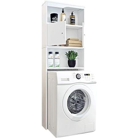 WC-Machine à Laver Armoire de Rangement 2 Portes 2 Compartiments Blanc Etagère Machine à Laver Meuble Haut Encastré de Salle de Bain
