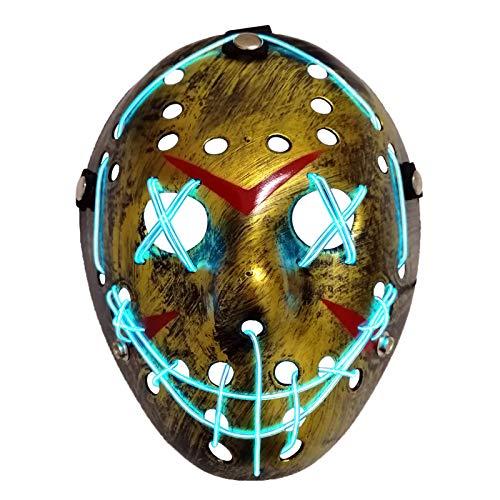 AUHOO LED Light up Purge Mask Jason Mask Scary Masks Glow Halloween Mask for Kids & Adults 3 Flashing Modes (Bronze)