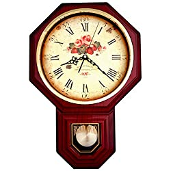 Justime Vintage Rose Classic Traditional Schoolhouse Pendulum Wall Clock Chimes Every Hour with Westminster Melody Made in Taiwan, 4AA Batteries Included (PP0258-FRM Red Mahogany)