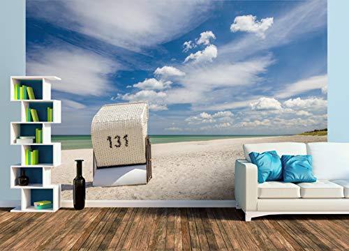 Premium Foto-Tapete Einsamer Strandkorb am Strand auf Zingst (versch. Größen) (Size XL | 465 x 310 cm) Design-Tapete, Wand-Tapete, Wand-Dekoration, Photo-Tapete, Markenqualität von ERFURT