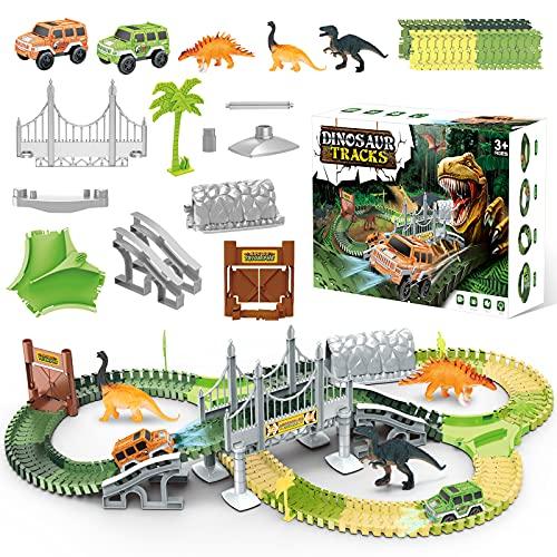 EXTSUD Juguetes de Pista Coche Dinosaurio para Niños, Pista de Coche Flexible Circuito de Coches, Juguetes Educativos para Niños Mayores de 3 Años