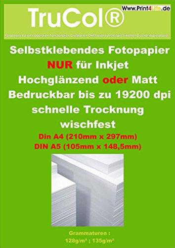 lijm Glanzend fotopapier en mat A4 (210mm x 297mm) DIN A5 (210mm x 148,5mm) 50x A4 128g SK Matt