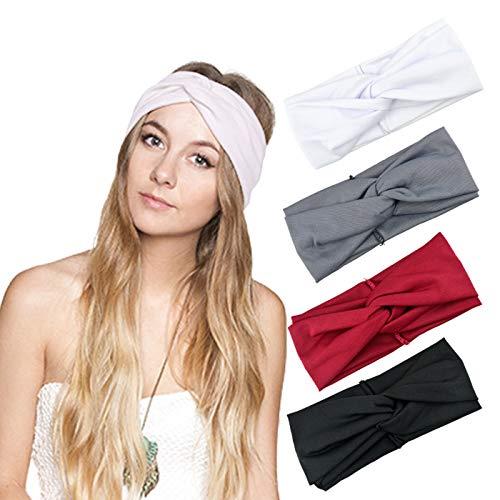 DRESHOW 4 Stück Damen Boho Stirnband Turban Elastische Weiche Stirnbänder Kopfband Haarband Stirnband Kopf Wickeln Niedlich Haarschmuck