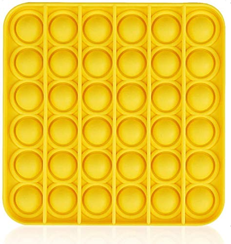 Pop Fidget Toy, Push Pop Bubble Sensory Silicone Toy, Autism Special Needs Stress Reliever, Playing Board Vent Restore Emotion Anxiety Relief Tool for Kids Adults (Square, Light Yellow)
