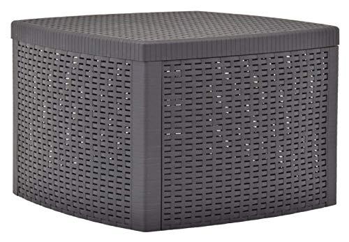 K&A Company Outdoor Table, Side Table Mocha 21.3'x21.3'x14.4' Plastic