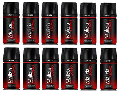 MALIZIA 12er Set Deodorant Herren Musk 150 ml Körperpflege Spray