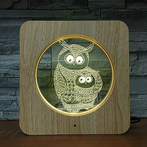Eulenfamilie Tierfotorahmen Kunststoff Nachtlicht benutzerdefinierte Lampe Tischlampe Kind Farbe Geschenk Dekoration