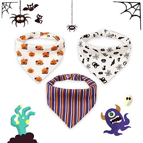 Halloween Bavoir Bébé Bandana Lot de Bavette en Coton avec Boucle Bavoir bandana de Mode Bavoir Naissance (Bavoir 3 pièces Halloween)