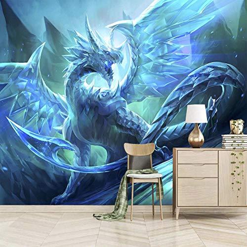 Fototapete Drachen 3D WanddurchbruchWandbild Motivtapeten Vlies-Tapeten Tier Mauer/Größe:280X200cm