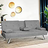 HCWORLD Sleeper,Modern Futon Sofa Bed, Couch Metal Legs and 2 Cup Holders Convertible Seat for Apartment Home Furniture-Gray