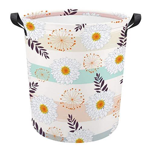 Cesta de almacenamiento grande, plegable, redonda, diseño de margaritas blancas, cesta de lavandería para dormitorios universitarios, dormitorios infantiles, baño