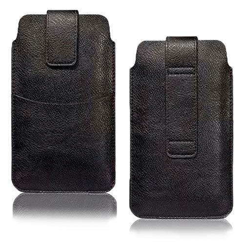 AXELENS Funda Cartera para Cinturón Universal Cuero Sintético por Movil iPhone 12 Pro MAX / 11 Pro MAX/Samsung Galaxy 21 Ultra/Xiaomi LG OPPO hasta 6,5 Pulgadas - Negro