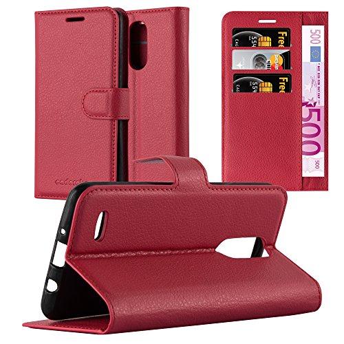 Cadorabo Hülle für LG K8 2017 - Hülle in Karmin ROT – Handyhülle mit Kartenfach & Standfunktion - Hülle Cover Schutzhülle Etui Tasche Book Klapp Style