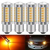 KATUR 4pcs BAU15S 7507 1156PY PY21W 5630 33-SMD Ambre 900 Lumens Super Bright LED Tourner Le Frein d'arrêt Signal Signal Light Ampoule 12V 3.6W