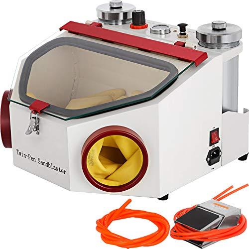 VEVOR Máquina Chorro de Arena, 220 V / 50 HZ ± 10 % Máquina de Chorro de Arena Dental, 120 μm / 50 μm Máquina Portátil para La Limpieza con Chorro de Arena con 2 Tanques para Industria Dental, etc.