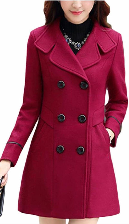 HTOOHTOOH Women's DoubleBreasted Overcoats Lapel Slim Long Sleeve Parkas
