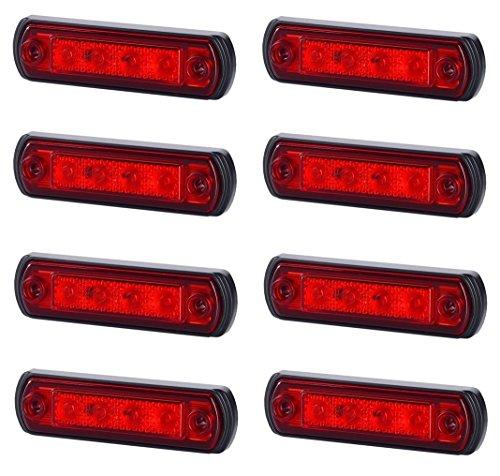 Lot de 8 feux de position latéraux arrière à LED rouge avec base en caoutchouc 12 V 24 V marquage E pour voiture, camion, remorque, camping-car, caravane, van