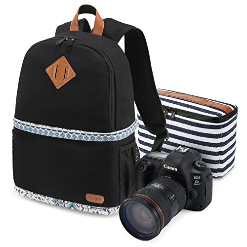 Kattee Womens Canvas SLR DSLR Camera Backpack 14 Laptop Bag for Canon Nikon with Waterproof Rain Cover Tripod Holder