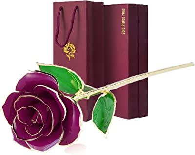 vinmax 24k Gold Dipped Rose Romantic Purple Artificial Rose Flowers with Long Stem, Perfect Birthday Gift