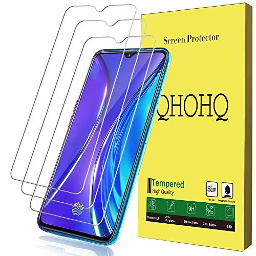 QHOHQ Protector de Pantalla para Realme XT,Realme X2, [3 Piezas] [Dureza 9H] Sin Burbujas HD Transparente Anti-Arañazos Cristal Templado